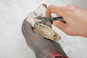 Shucking oyster with knife wearing oyster shucking gloves