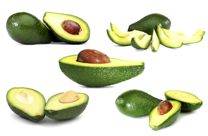 Sliced Avocado with avocado slider on white background