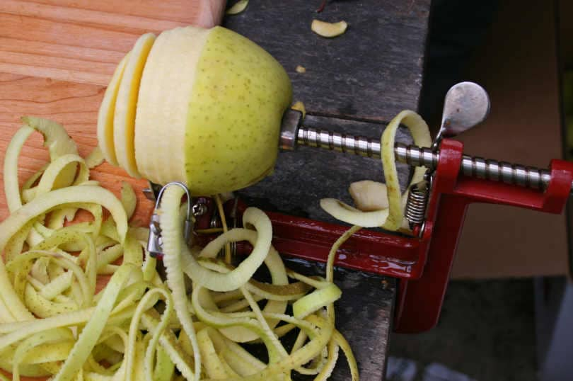 Apple Peeler with Half-Peeled Apple